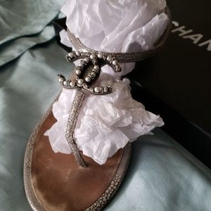 Chanel Sandals with Pearl and Diamond Detail